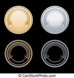 Blank token, vector illustration - Blank gold and silver...