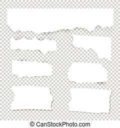 Blank Torn paper sheets. Vector note pieces collection with sticky tape.