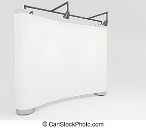 Blank trade show white display booth for design