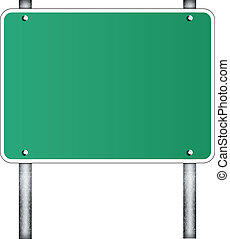 Blank traffic road sign on white