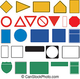 Blank traffic signs on white background