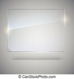 Blank, transparent vector glass plate. Vector template,...