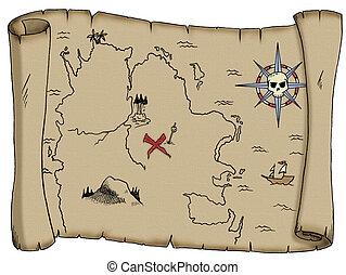 A tattered, blank pirate treasure map.