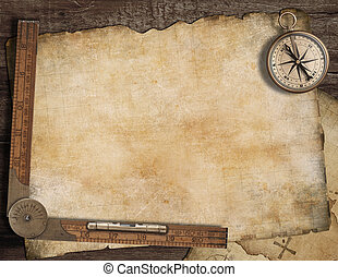 Blank treasure map background with, old compass and ruler. Adventure concept.
