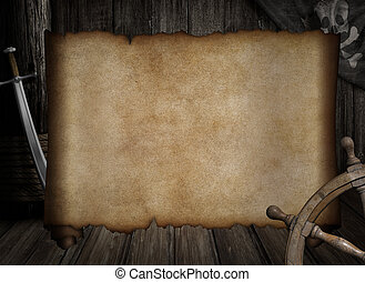 blank treasure map over other pirates accessories - blank ...