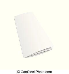 Blank trifold brochure or leaflet 3d mockup vector illustration isolated.