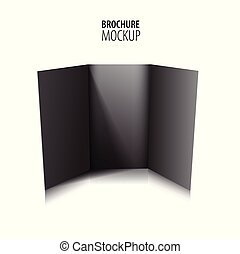 Blank trifold paper black brochure mockup isolated on white. Vector Illustration