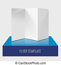 Blank trifold paper brochure or flyer realistic template with shadows
