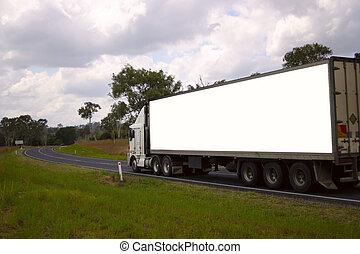 blank truck - Clipping path in JPEG. Blank semi on highway
