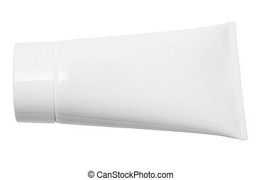 Blank Tube w/ Path - White tube isolated on white. Space to ...