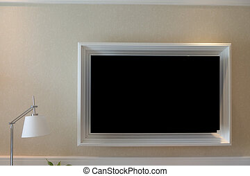 Blank TV hanging on wall