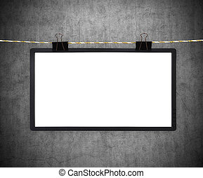 Blank tv screen hanging on rope