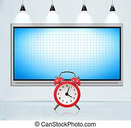 Blank tv screen on concrete wall