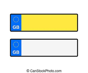 Blank UK Number Plates - Blank yellow and white UK number...