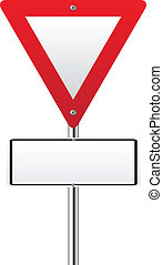 Blank upside down triangle red traffic sign