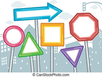 Blank Urban Signs - Illustration of Blank Signs in Different...