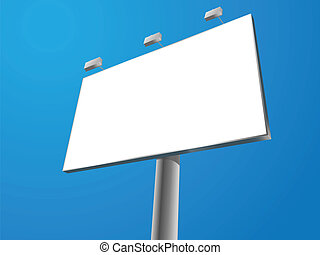 billboard - blank vector outdoor billboard on blue ...