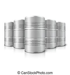 Blank vector realistic big oil barrels isolated on white background with reflection.