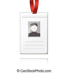 Blank vector vertical badge holder with place for photo and...