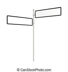 blank, vej underskriv, ind, forskellige, retninger