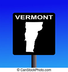 Vermont highway sign - Blank Vermont highway sign on blue...