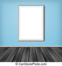 Blank vertical advertising billboard. Empty frame on wall.