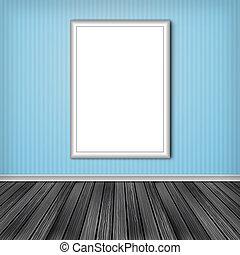Blank vertical advertising billboard. Empty frame on wall.