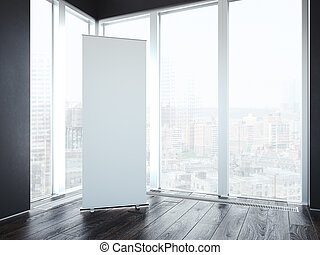 Blank vertical banner in interior with windows. 3d rendering