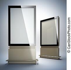 Blank vertical billboards. 3D illustration of blank template...