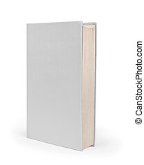 Blank vertical book cover template with pages in front side standing on white surface Perspective view