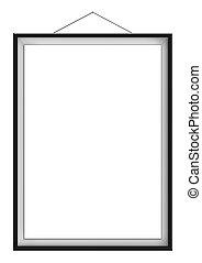 Blank vertical painting in black frame