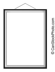 Blank vertical painting in black frame