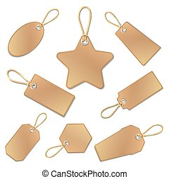 Blank vintage brown paper price tags with strings isolated on white. vector collection