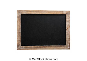 Blank vintage chalkboard with wooden frame, isolated on white background