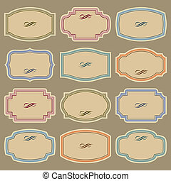 blank vintage labels set (vector) - set of 12 blank labels,...
