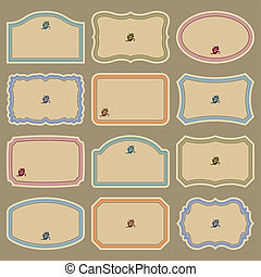 set of blank vintage labels, scalable and editable vector illustrations;