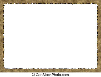 Blank Vintage Paper Frame with burnt edges on white backgrounds