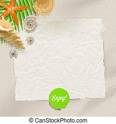 Blank vintage paper, starfish and cockleshell on a beach sand - summer holidays vector illustration