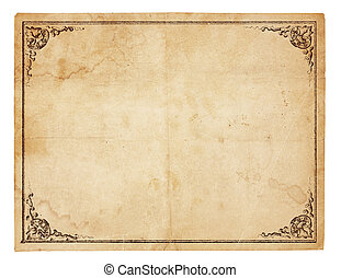 Blank Vintage Paper With Antique border - Aged, yellowing...