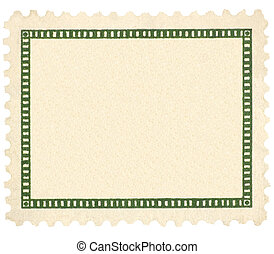 Blank Vintage Postage Stamp And Green Vignette Macro, Isolated