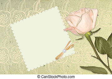 Blank vintage romantic paper with pink rose