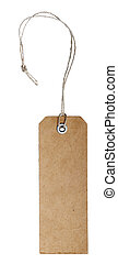 blank vintage paper tag with riveted hole and natural fiber string