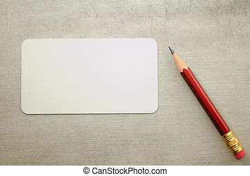 Blank visit card with pencil