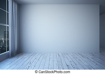 Blank Wall In Room At Night
