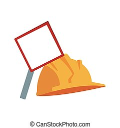 blank warning sign and safety helmet icon