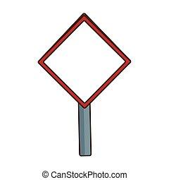 blank warning sign icon, flat design