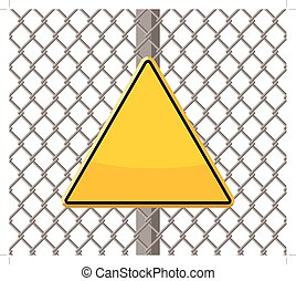 blank warning sign on wire fence