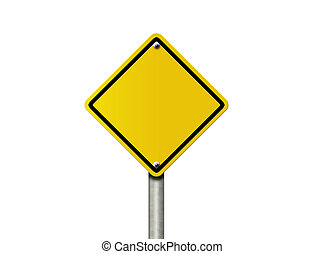 Blank Warning - An American road warning sign isolated on...