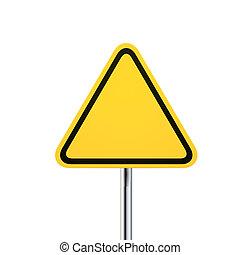 blank warning yellow road sign