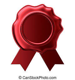 Blank wax seal with red ribbon